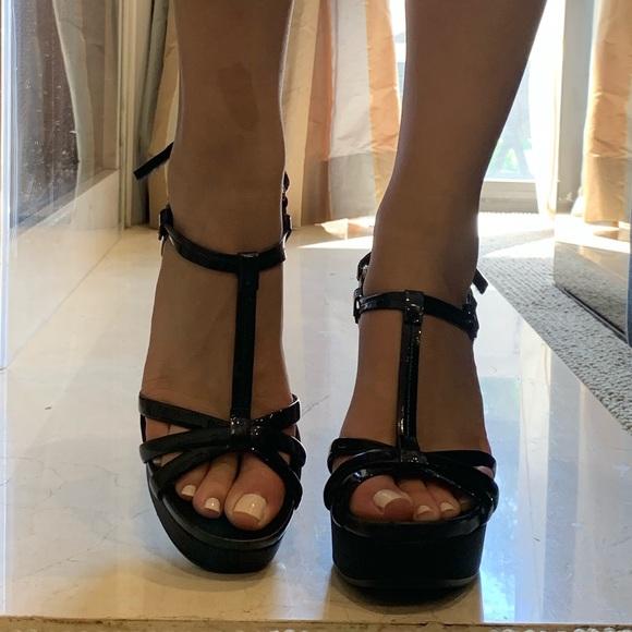 Prada Shoes - Prada Black Leather T-strap Wedge Sporty Sandal